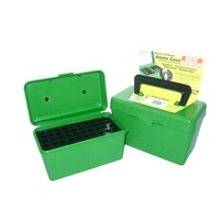 MTM Deluxe Rifle Ammo Boxes with Handle - 50 Round fits 25-06 30-06 270 Win - Green