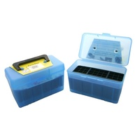 MTM Deluxe Rifle Ammo Boxes with Handle - 50 Round fits 25-06 30-06 270 Win - Blue