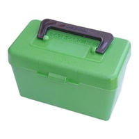 MTM Deluxe Rifle Ammo Boxes with Handle - 50 Round fits 7mm Remington Mag 300 Winchester Mag - Green