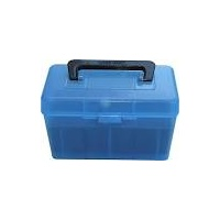 MTM Deluxe Rifle Ammo Boxes with Handle - 50 Round fits 223 Rem 204 Ruger - Blue