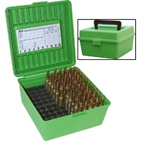 MTM Deluxe Ammo Boxes with Handle - 100 Round fits 22-250 to 458 Winchester - Green