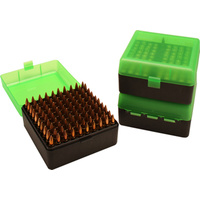 MTM Rifle Ammo Box - 100 Round Flip-Top 223 204 Ruger 6x47 - Clear Green/Black