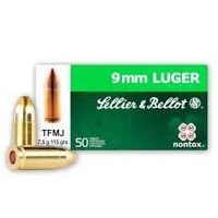 Sellier and Bellot 9MM LUGER 115gr Non-Tox FMJ 50pk