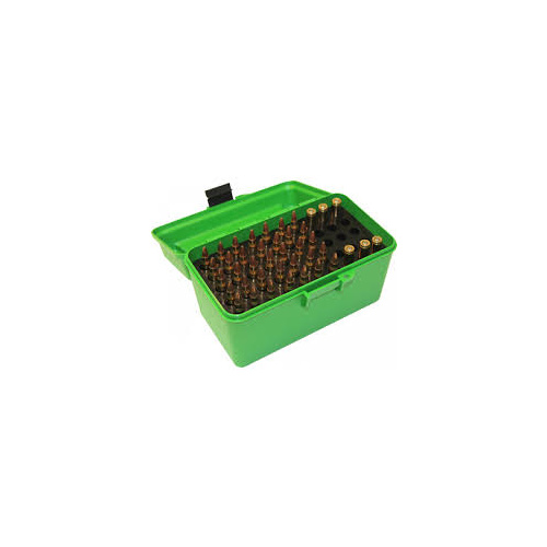 MTM Deluxe Rifle Ammo Boxes with Handle - 50 Round fits 223 Rem 204 Ruger - Green